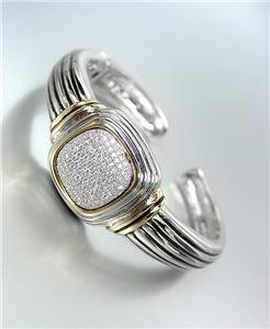 CLASSIC Square Pave CZ Crystals Center Silver Cable Hinged Cuff Bracelet