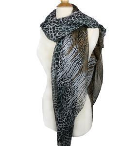 EXOTIC Lightweight Silky Black Camel Brown Animal Print Fashion Scarf