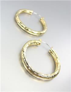 "CLASSIC Gold Hammered Texture Metal 1 1/4"" Diameter Round Hoop Earrings"