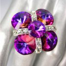 GLITZY SPARKLE Fuschia Purple CZECH Crystals Cocktail Bridal Pageant Prom Ring