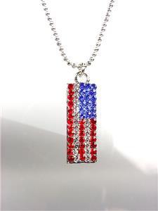 SILVER Red White Blue Swarovski Crystals Patriotic USA American Flag Necklace