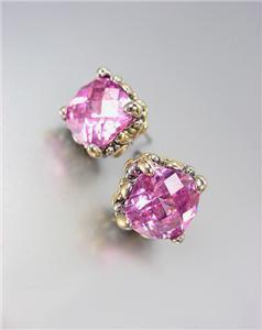 Designer PETITE Silver Gold Balinese Filigree Rose Pink CZ Crystal Earrings
