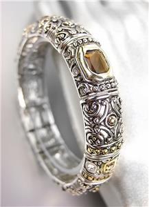 GORGEOUS Designer BALINESE Silver Gold Smoky Brown Topaz CZ Crystals Bracelet