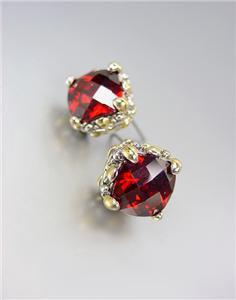 Designer PETITE Silver Gold Balinese Filigree Red Garnet CZ Crystal Earrings