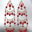 STUNNING Garnet Red Crystal Beads Gold Chandelier Dangle Peruvian Earrings B52-6