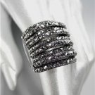 EXQUISITE SPARKLE Marcasite Hematite Crystals Antique Hematite Metal Ring