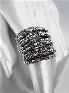 EXQUISITE SPARKLE Marcasite Hematite Crystals Antique Hematite Metal Ring
