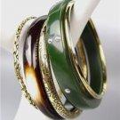 CHIC & STYLISH 5 PC Olive Resin Brass Brown Horn Bangle Bracelet