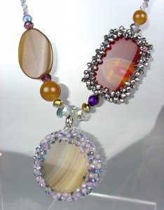 EXQUISITE Brown Gray Marble Agate Chalcedony Labradorite Czech Necklace Set