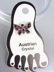 ADORABLE Purple Enamel Austrian Crystal BUTTERFLY Invisible PETITE Toe Ring