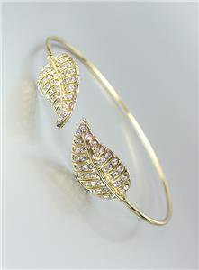 *NEW* Designer Style Thin Gold CZ Crystals Leaf LEAVES Cuff Bracelet