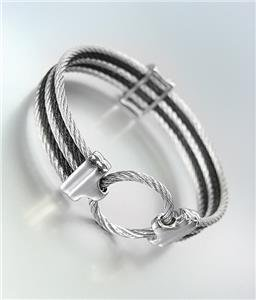 GORGEOUS Designer Style Silver Black Cables Ring CZ Crystals Bangle Bracelet 751
