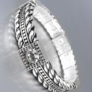 Designer Style Silver Cables Clear Crystals Stretch Bracelet