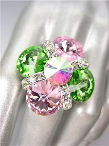 GLITZY SPARKLE Multicolor Iridescent AB Czech Crystals Cocktail Ring