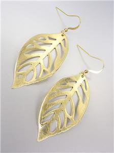 CHIC & UNIQUE Lightweight Burnished Mat Gold LEAF Dangle Earrings