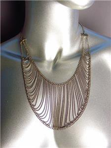 UNIQUE Bohemian Urban Anthropologie Antique Gold Metal Chain Drape Necklace