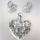 CLASSIC Brighton Bay Silver Filigree Heart Pendant Enhancer Earrings Set