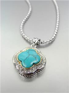 GORGEOUS Silver Turquoise CZ Crystals Clover Pendant Box Chain Necklace