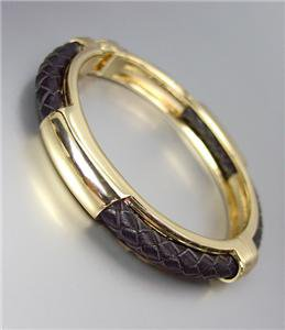 CHIC & UNIQUE Gold Plated Braided BROWN Leather Cord Hinged Bangle Bracelet