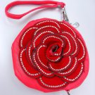 Luscious Red Crystals Encrusted Flower Pink Round Clutch Bag Purse