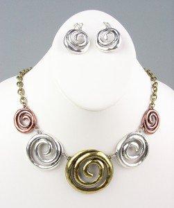 CHUNKY Antique Metal Swirl Rings Drape Necklace Earrings Set