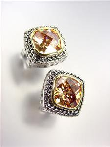 EXQUISITE Balinese Silver Wheat Cable Brown Topaz CZ Crystal Square Earrings