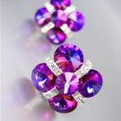 GLITZY Fuschia Purple Czech Crystals Bridal Prom Pageant Queen CLIP Earrings