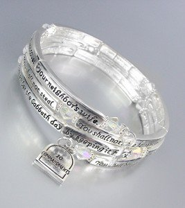 Inspirational Silver Twist Wire Wrap 10 COMMANDMENTS Crystals Charms Bracelet