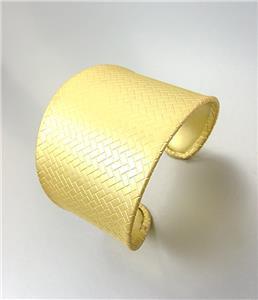 GORGEOUS & CHIC Mat Gold Weave Texture Metal Graduated Width Cuff Bracelet