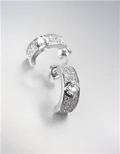 CLASSIC & PETITE 18kt White Gold Plated CZ Crystals Dainty Crescent Earrings