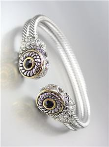 CLASSIC Designer Style Double Silver Cables Black Onyx CZ Crystals Bracelet