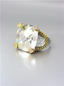 CHUNKY Designer Style Balinese Gold Dots Clear Quartz CZ Crystal Ring