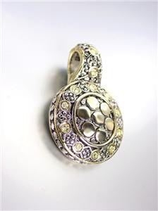 NEW Designer Style BALINESE Silver Gold Dots Jonquil Citrine CZ Crystals Pendant