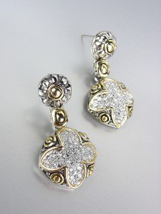 GORGEOUS Designer Style Silver Gold Balinese CZ Crystals Maltese Cross Earrings