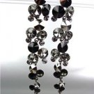STUNNING Smoky Hematite Black Czech Crystals WATERFALL Dangle Earrings