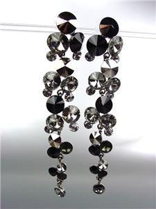 STUNNING Smoky Hematite Black Czech Crystals WATERFALL Dangle Earrings