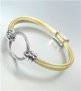GORGEOUS Designer Style Gold Cables Silver Ring CZ Crystals Bangle Bracelet