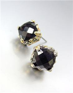 Designer PETITE Silver Gold Balinese Filigree Black Onyx CZ Crystal Earrings