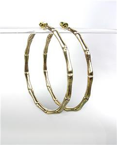 "CHIC & STYLISH Gold Plated Bamboo Motif 2"" Diameter Hoop Earrings"