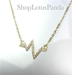 CHIC 18kt Gold Plated CZ Crystal Heartbeat ZigZag Pendant Petite Dainty Necklace