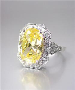 STUNNING 18kt White Gold Plated 12.86 CT Oval Yellow Canary CZ Cocktail Ring