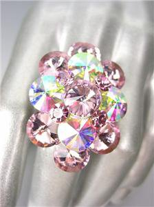 GLITZY Pink Iridescent AB Czech Crystals Oval Cluster Large Cocktail Ring