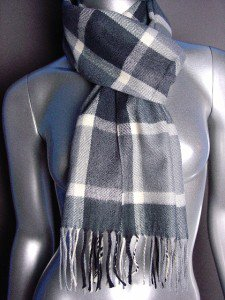 CLASSIC Gray Plaid CASHMERE TOUCH 100% Acrylic Scarf