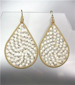 CHIC White Quartz Peruvian Crystals Beads Gold Metal Chandelier Dangle Earrings