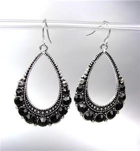 SPARKLE Antique Silver Black CZ Crystals Tear Drop Dangle Earrings
