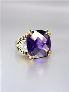 CHUNKY Designer Style Balinese Gold Dots Purple Amethyst CZ Crystal Ring