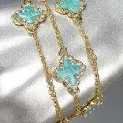 NEW 18kt Gold Plated Chains Blue Enamel Clover Clovers CZ Crystals Bracelet