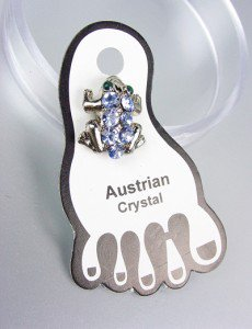 Sparkle Blue Austrian Crystals FROG Invisible PETITE Toe Ring