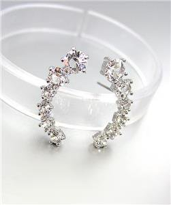 LUXURIOUS 18kt White Gold Plated .25ct CZ Crystals Crescent Earrings