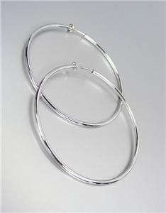 """CLASSIC Lightweight THIN Silver Metal Round 2 1/4"""" CLIP ON Hoop Earrings"""